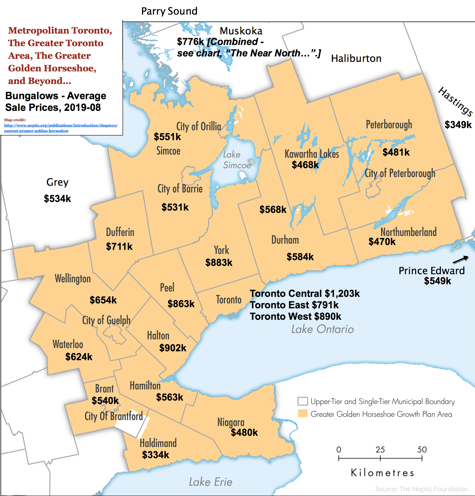 Image: Toronto / GTA / GGH Reference Map with 2019-08 Bungalow Prices & Stats by City / Region