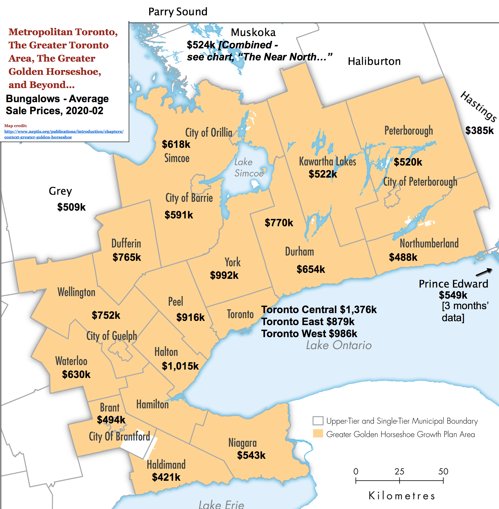 Image: Toronto / GTA / GGH Reference Map with 2020-02 Bungalow Prices & Stats by City / Region