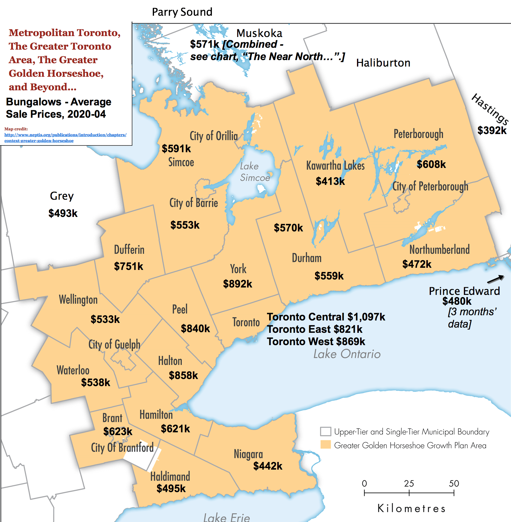 Image: Toronto / GTA / GGH Reference Map with 2020-04 Bungalow Prices & Stats by City / Region