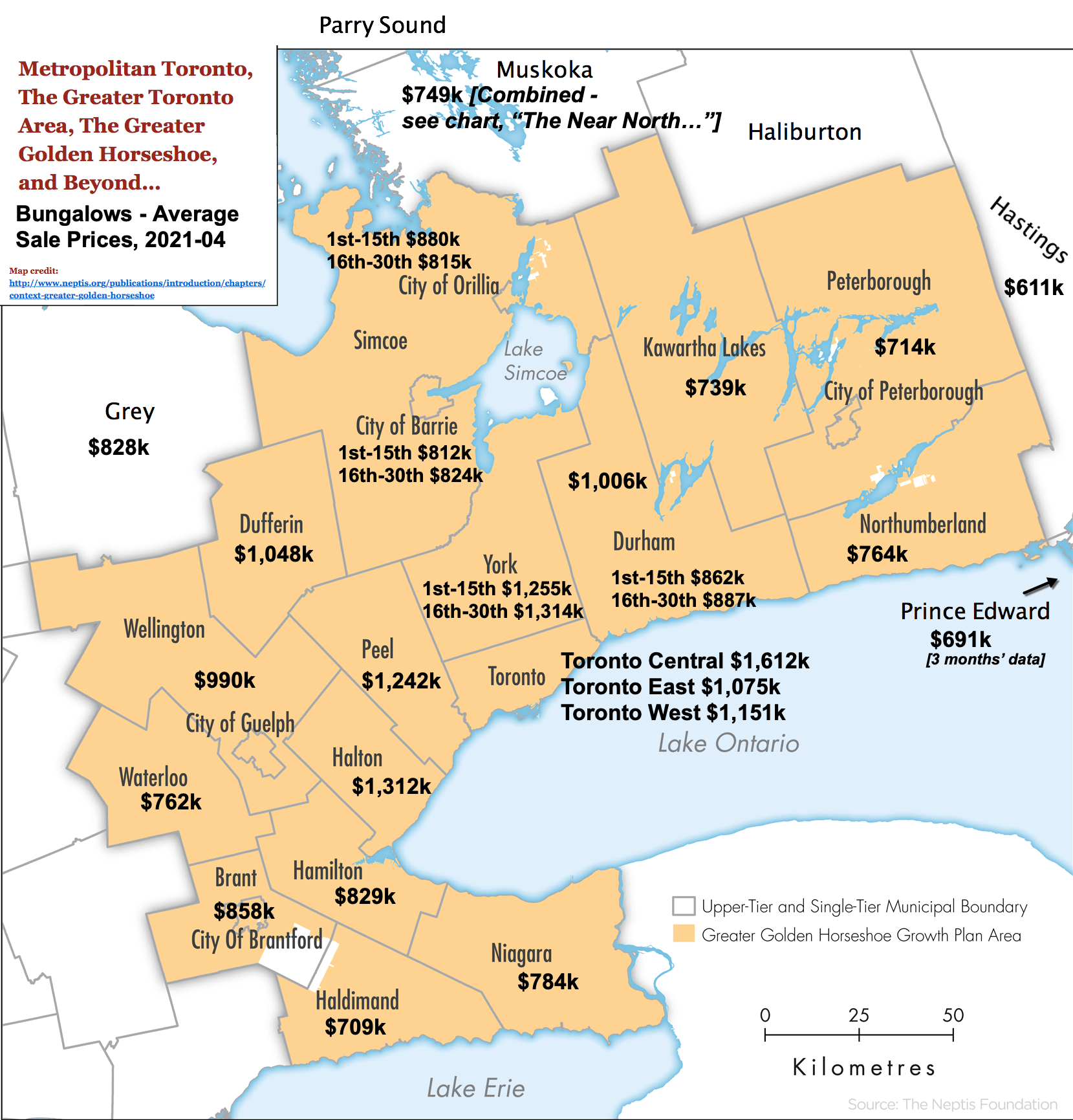 Map - Updated 2021-04 - Detailed Bungalow Sales Statistics - Toronto, The GTA, and The GGH [Greater Golden Horseshoe], Ontario.